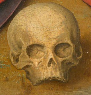 De schedel van Adam, te zien op 'De bewening van Christus' van Rogier van der Weyden, ca. 1460