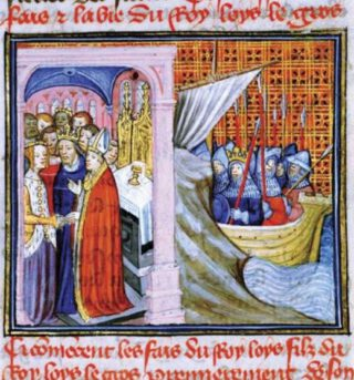 Veertiende-eeuwse verbeelding van het huwelijk van Eleonora van Aquitanië en Lodewijk van Frankrijk