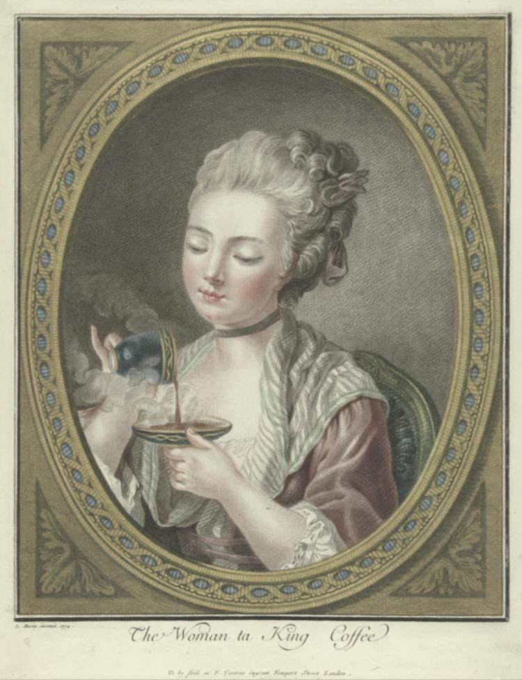 Een jonge vrouw schenkt hete koffie van het kopje in het schoteltje. Ets van Louis Bonnet, 1774. Rijksmuseum Amsterdam.
