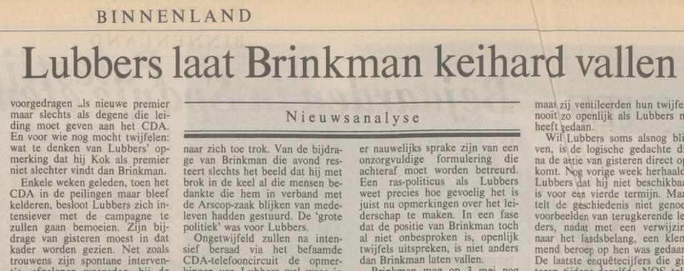 Kop in het NRC Handelsblad van 16 april 1994, over Ruud Lubbers' opmerkingen over Elco Brinkman
