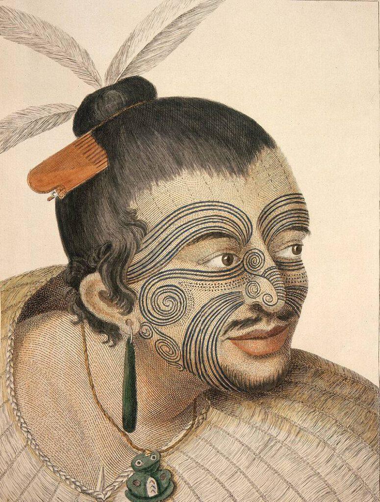 Maori met tatoeages zoals gezien door James Cook en zijn bemanning, ca. 1769