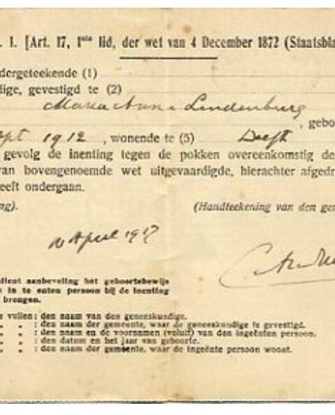 Vaccinatiebewijs - Een pokkenbriefje uit later tijden: 1919 (CC BY 3.0 - Museon - Europeana)