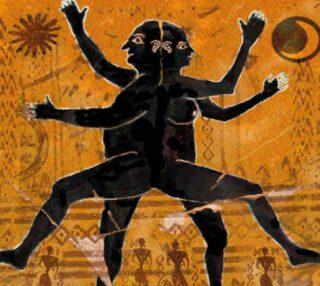 Voorstelling van de bolmens van Aristophanes op een antieke amfoor