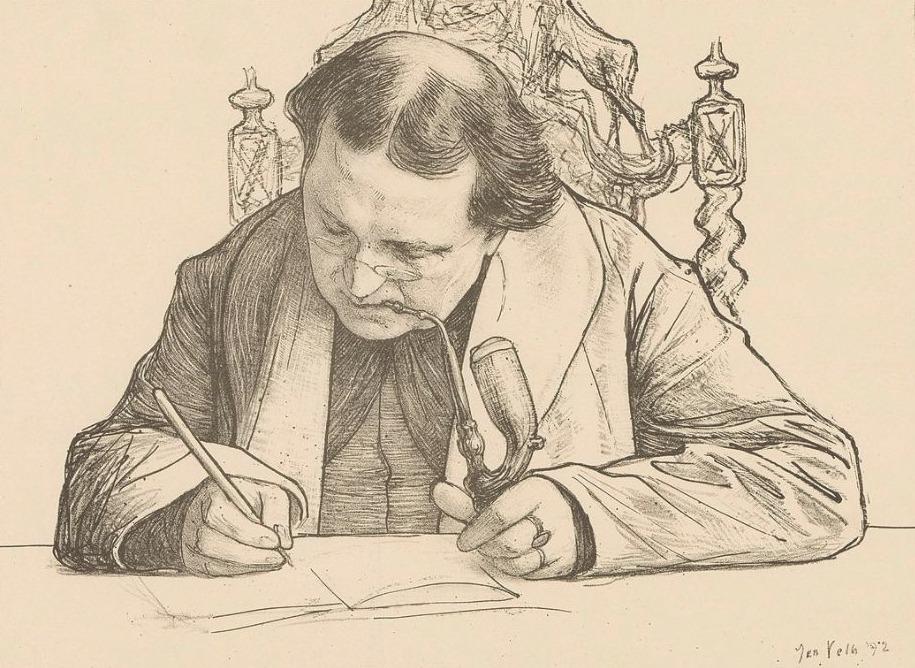 Portret van een schrijvende Abraham Kuyper - Jan Veth, 1892