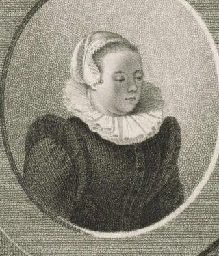 Portret van Anna Roemers Visscher, Pieter van der Meulen, naar Hendrick Goltzius, 1790 - 1858