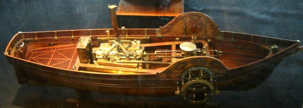 Model van de Pyroscaphe van François Jouffroy d'Abbans