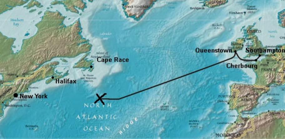 Route van de Titanic. Het kruis geeft aan waar het schip is gezonken.