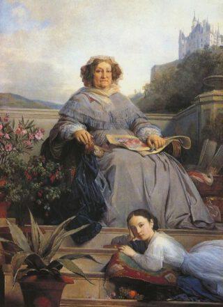 Barbe Nicole Ponsardin-Clicquot. Portret met dochter - Léon Cogniet