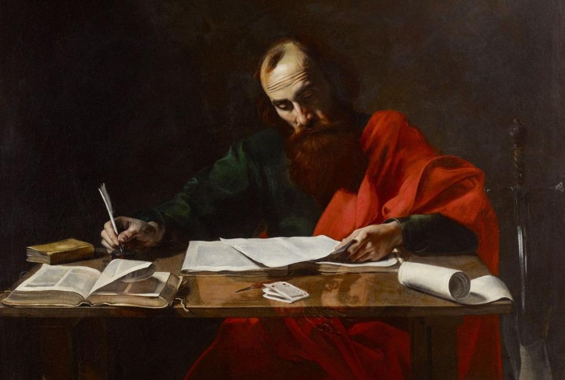 Schrijvende apostel Paulus - Valentin de Boulogne, ca. 1618-1620