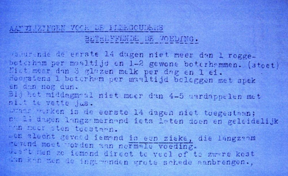 Aanwijzing met betrekking tot het eten voor hun pleegkind. Januari – maart 1945