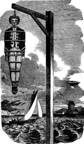 Afbeelding van de opgeknoopte William Kidd in een boek van Charles Ellms