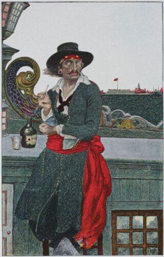 William Kidd op de Adventure Galley, voor de haven van New York - Tekening van Howard Pyle