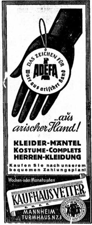 Als gevolg van de ariseringsacties van het naziregime verenigden Duitse bedrijven en winkels zich in de Duits-Arische bond Adefa. Het waarmerk van Adefa was een garantie dat men de consument zijn aankopen niet in een Joodse zaak zou doen.