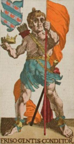 Prins Friso met het wapen van het koninkrijk Friesland en het Friese vrijheidsvaandel