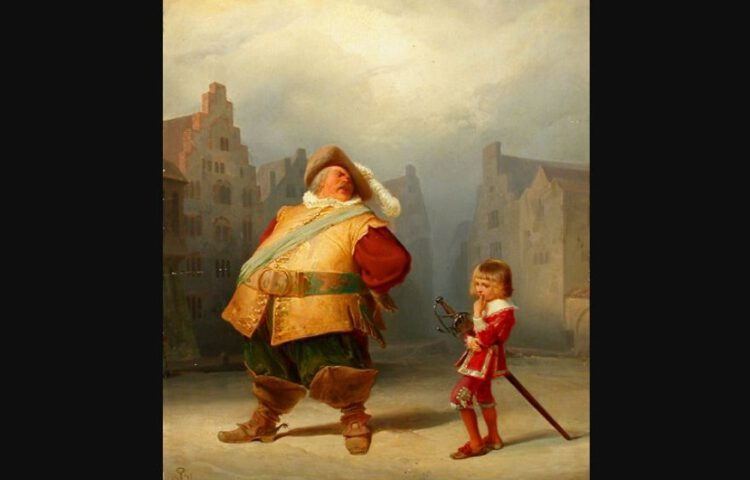 Falstaff en zijn page, Adolf Schrödter (1867)