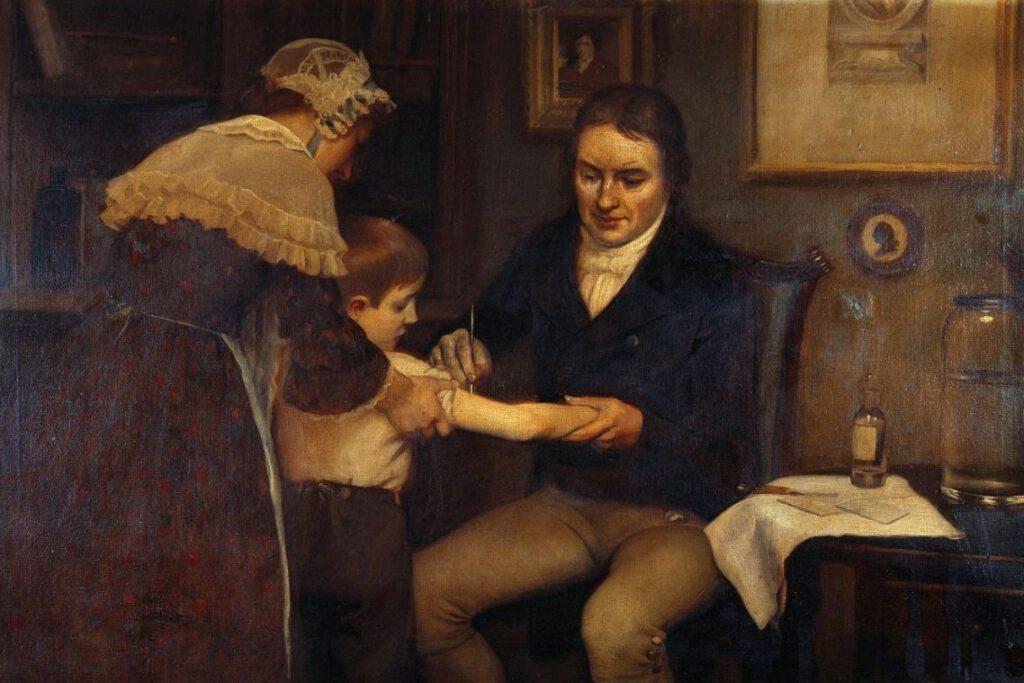 Edward Jenner geeft de eerste vaccinatie aan de achtjarig James Phipps, 1796 - Schilderij van E. Board