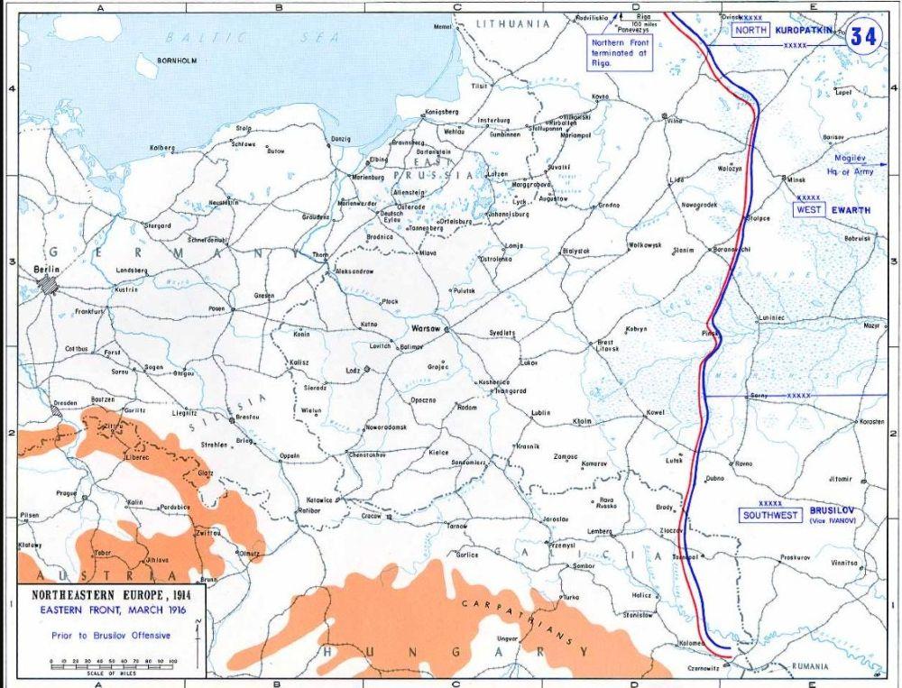 Het oostfront voor en tijdens het Broesilov-offensief