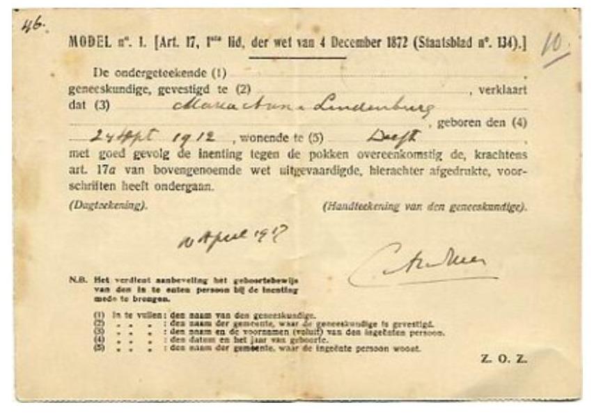 Vaccinatiebewijs - Een pokkenbriefje uit 1919