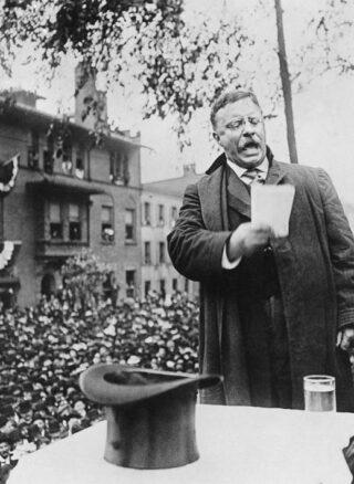 Theodore Roosevelt tijdens een presidentscampagne, 1912