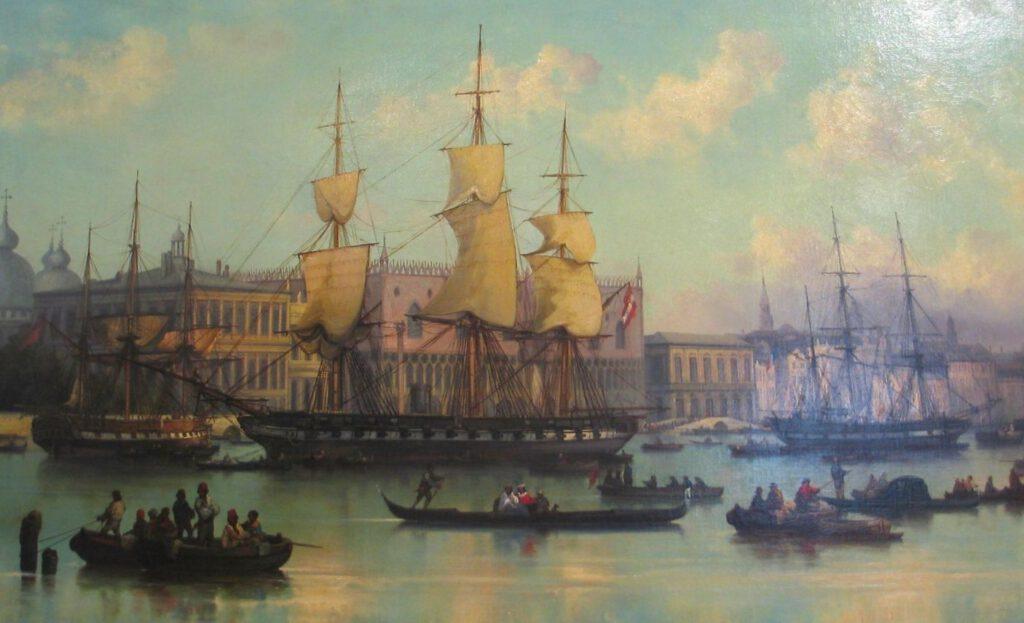 Het fregat Novara, geschilderd door Josef Püttner (na1862).