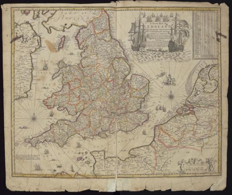 Een zeventiende-eeuwse kaart met het Kanaal als focus - Robert Morden, A New Map of England, 1673
