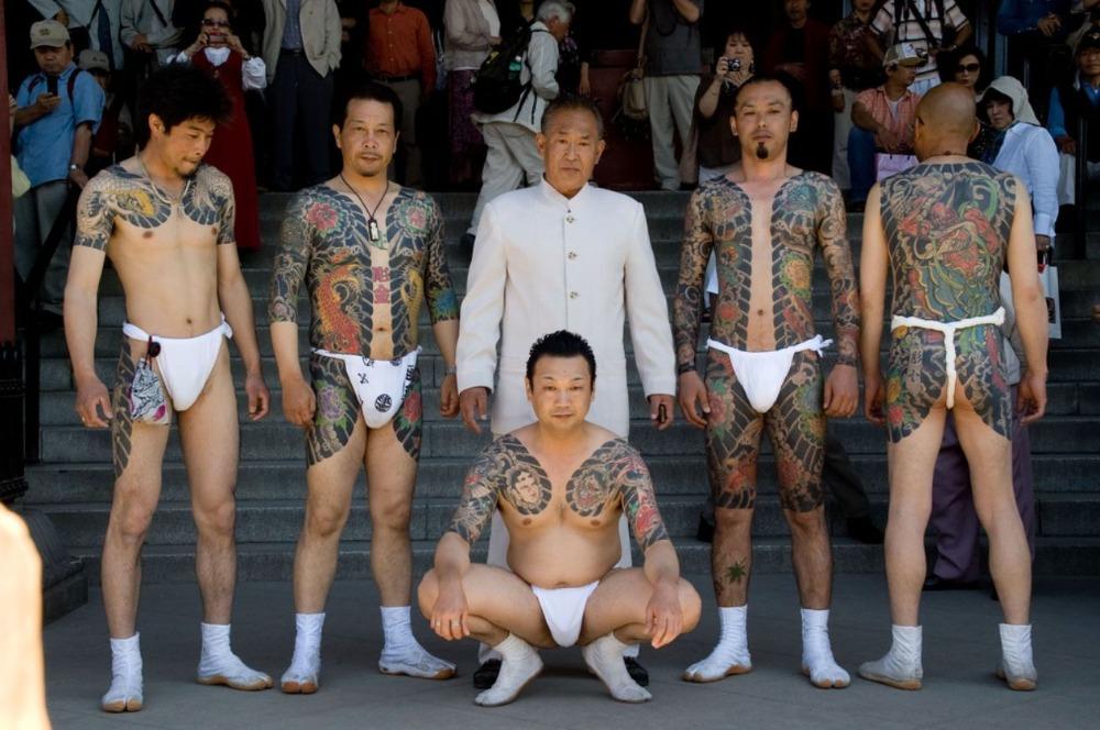 Traditionele Japanse tatoeages zoals gebruikelijk bij de Yakuza