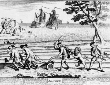 Engelse karikatuur over 'De oorlog om Jenkins' oor'. Linksboven wordt Jenkins van zijn oor ontdaan.