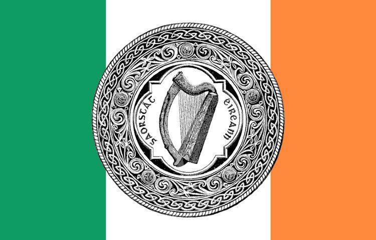 Vlag met daarin het grootzegel van de Ierse Vrijstaat