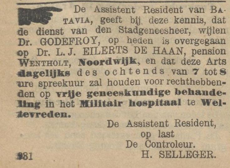Het nieuws van den dag voor Nederlandsch-Indië, 12 februari 1906: de dokter houdt spreekuur in het militair hospitaal.