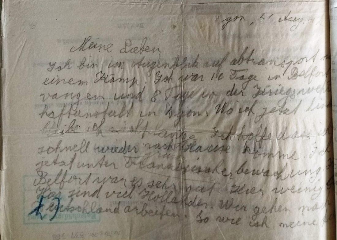 Brief van Hans Joachim aan Fritz Jacobsohn