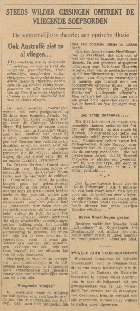 Bericht in de Arnhemsche courant van 9 juli 1947 over het fenomeen 'vliegende soepborden'