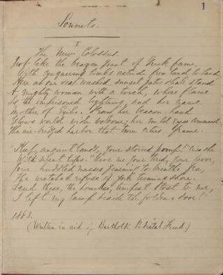 Manuscript van het gedicht 'Mother of Exiles' van Emma Lazarus, 1883