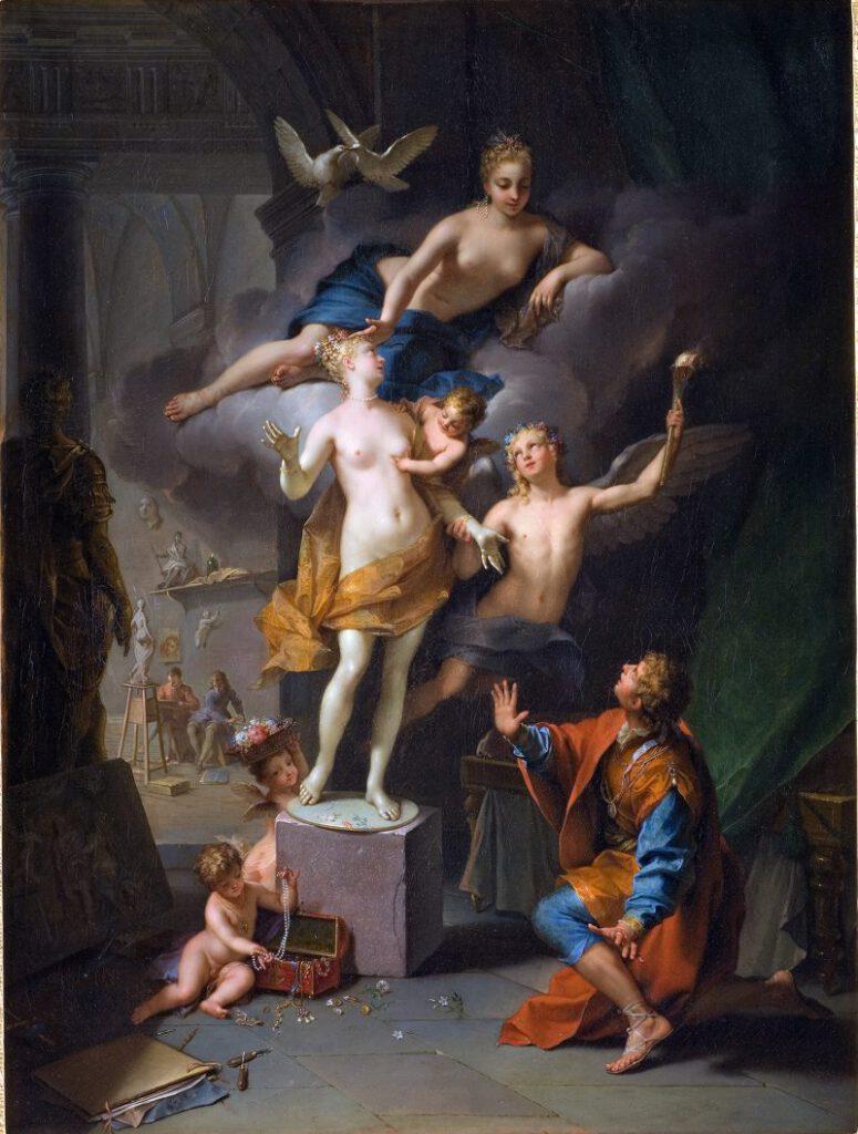 Galatea wordt tot leven gewekt door Venus - Jean Raoux, 1717