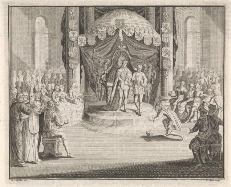 Karel V draagt het bestuur van de Nederlanden over aan Filips II. Gravure Pieter Tanjé, naar tekening van Gerard Melder, 18e eeuw. (Rijksmuseum, Amsterdam). Uit: De koning van Hispanje
