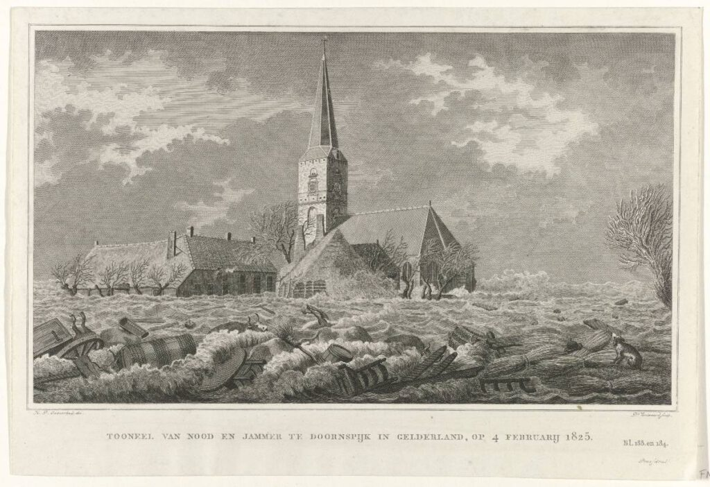 Sint-Ludgeruskerk - Watersnood bij Doornspijk, 1825, Daniël Veelwaard