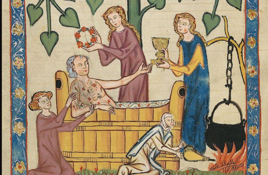 Een persoonlijke badkamer was alleen voorbehouden aan de rijken. De meeste mensen waren aangewezen op openbare badhuizen - Codex Manesse, 14e eeuw