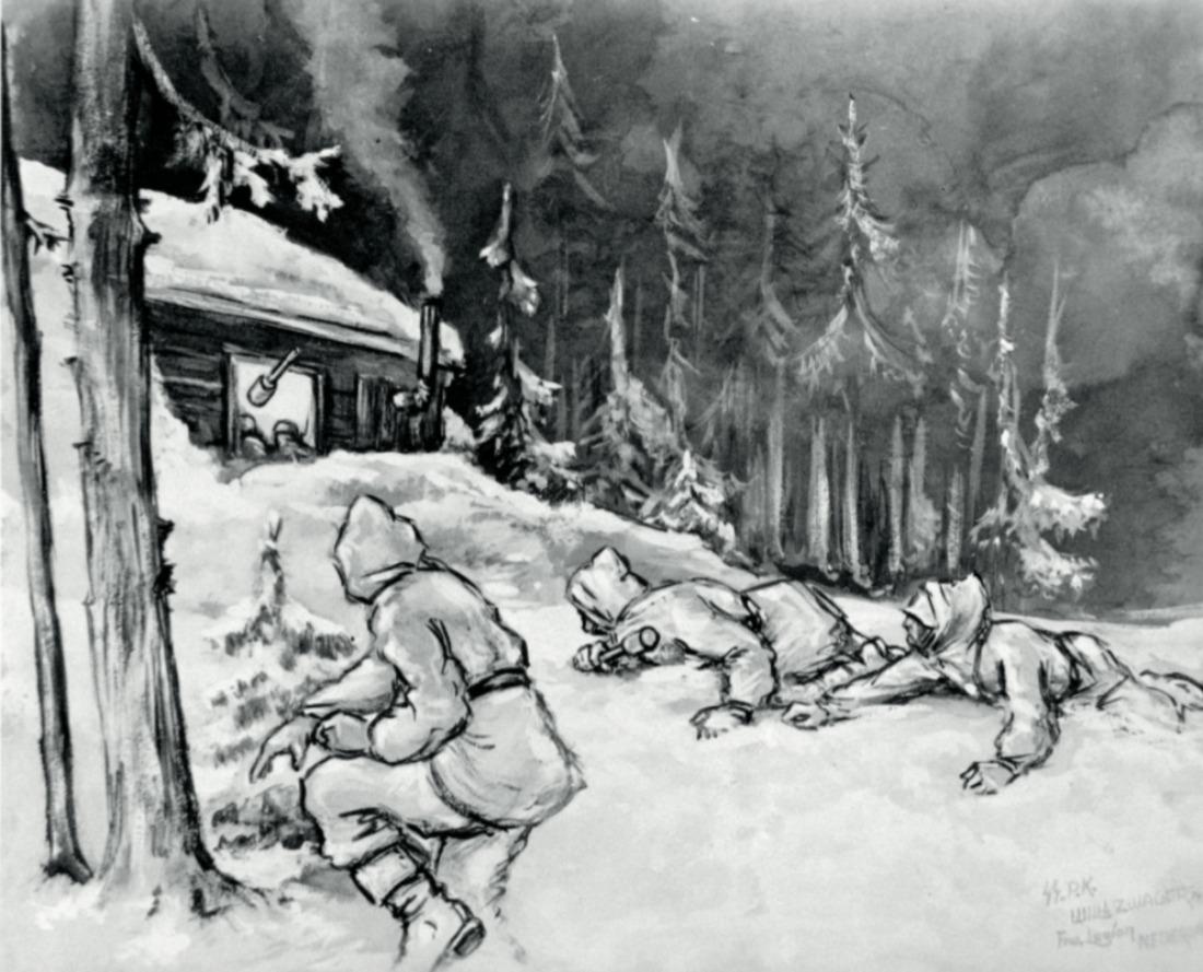 'Ein Stosstrup der Leg. Niederl. uberrascht die Sowjets' - Foto uit 'Getekend voor het leven'