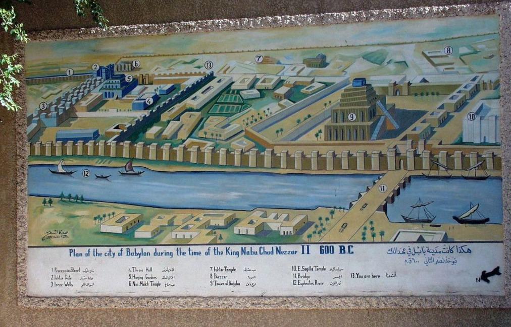 Babylon rond 600 v.Chr. met centraal de ziggurat