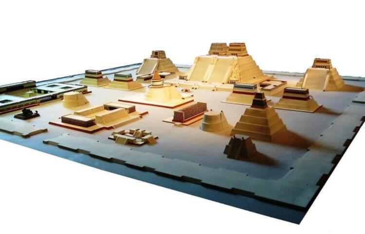 Model van het ceremoniële centrum van Tenochtitlan