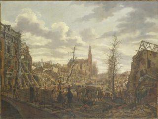 Het Rapenburg te Leiden drie dagen na de ontploffing van het kruitschip op 12 januari 1807, Johannes Jelgerhuis. In het midden de toren van de Saaihal, de latere Lodewijkskerk.