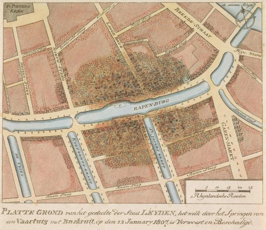 Plattegrond van de verwoestingen door de buskruitramp, 1807
