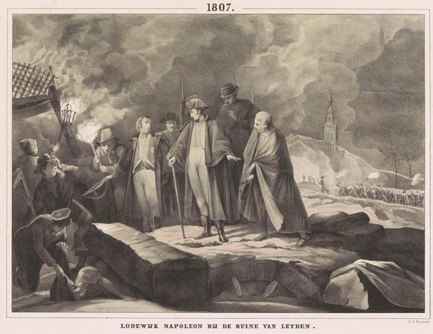 Lodewijk Napoleon op de plaats van de ramp, 1807