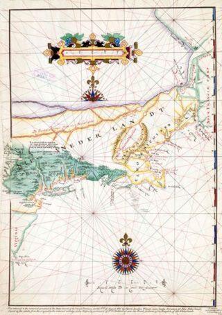 """Kaart van Adriaen Block uit 1614,  met Long Island als eiland. De eerste kaart waarop de naam """"Nieuw-Nederland"""" voorkomt."""