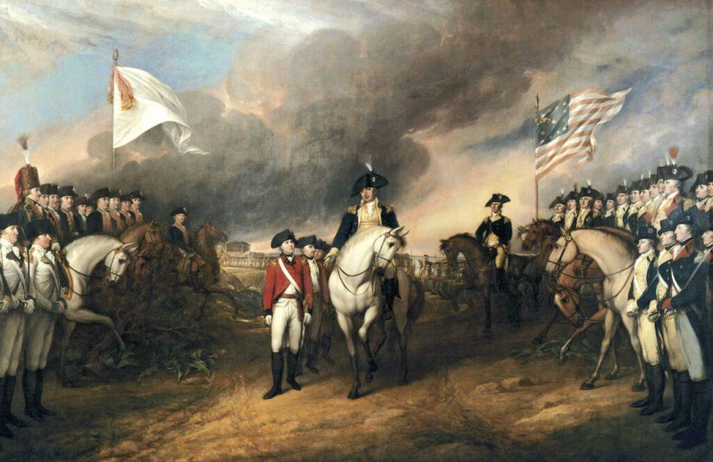 De Britse koloniaal gouverneur Charles Cornwallis geeft zich bij Yorktown over aan de Amerikaanse kolonisten. Niet lang hierna erkende Groot-Brittannië de onafhankelijkheid van de Amerikaanse koloniën - Schilderij van John Trumbull