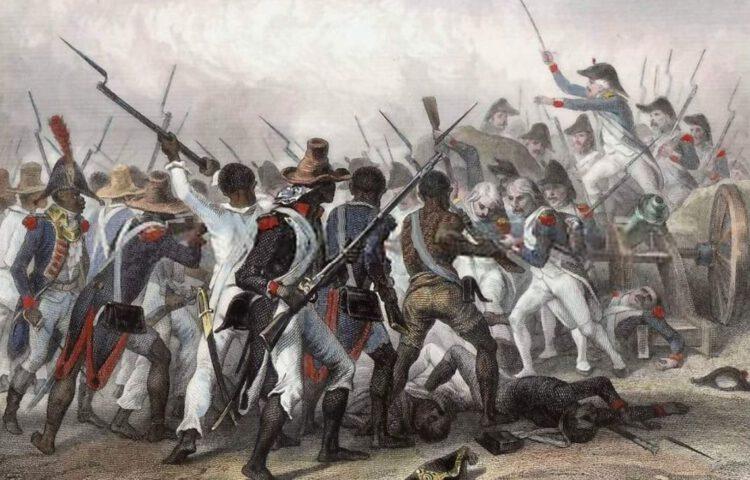 Slag bij Vertières - Haïtianen nemen het op tegen Franse troepen, 1803 - Schilderij Auguste Raffet