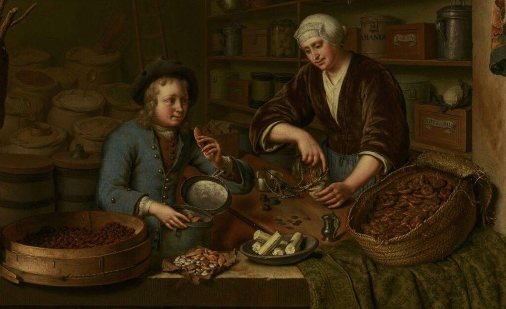 Kruidenierswinkel - Willem van Mieris, 1717 - detail
