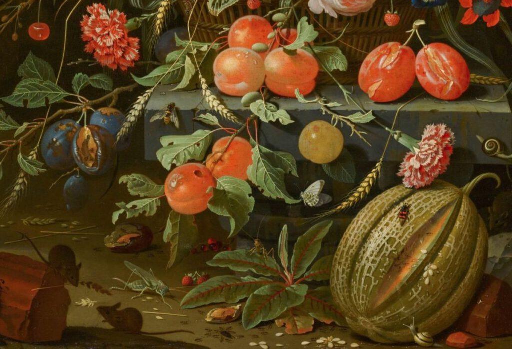 'Stilleven met bloemen en vruchten' - Abraham Mignon, 1670 - detail