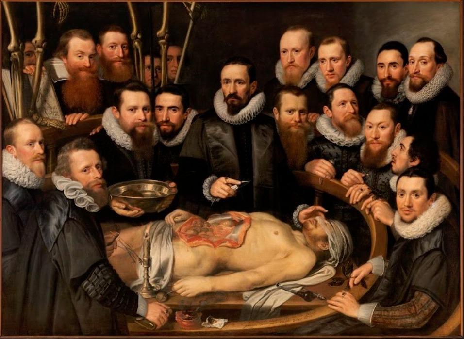 Anatomische les van dr. Willem van der Meer - Michiel en Pieter van Mierevelt, 1617