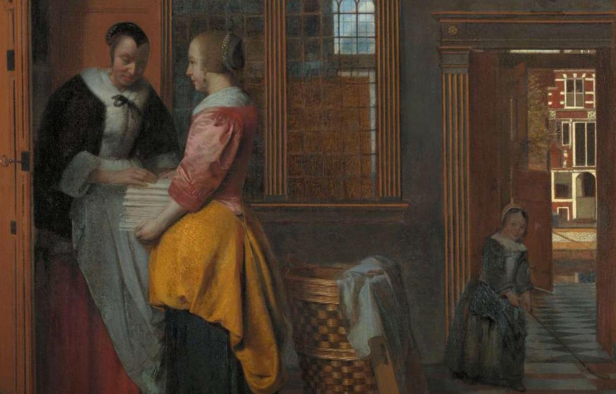 Binnenhuis met vrouwen bij een linnenkast - Pieter de Hooch, 1663