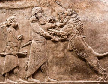 Bekend reliëf uit het Assyrische paleis in Nineve